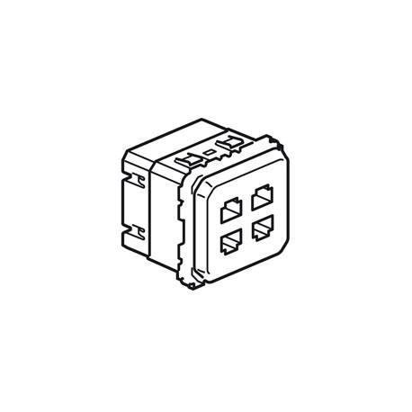 Prise quadruple RJ 45 STP multimédia Céliane - réseau Optimum auto