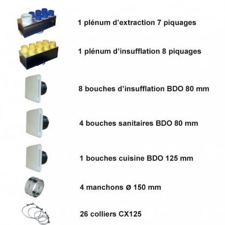 kit accessoires pour Vmc double Flux Unelvent Kit P08