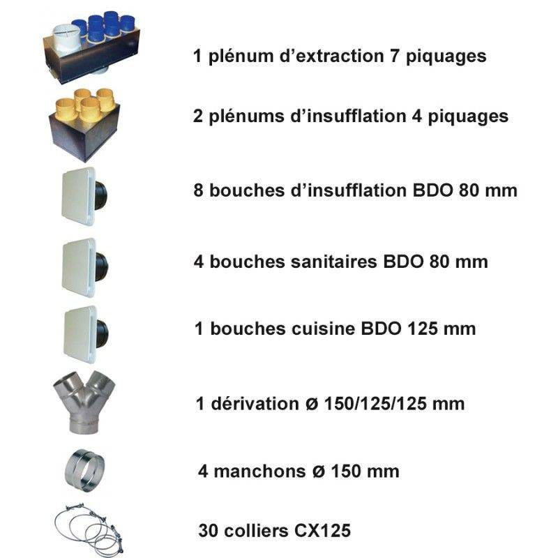 Admirable VMC double flux IDEO 325 Ecowatt radio + kit accessoires P04 MW-49