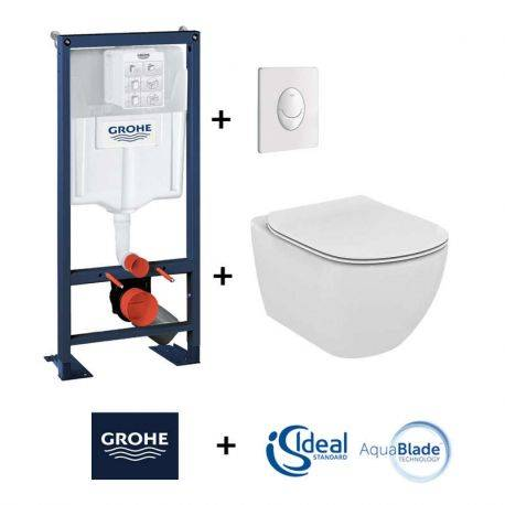 Pack wc suspendu groh rapid sl cuvette tesi aquablade for Hauteur standard wc suspendu