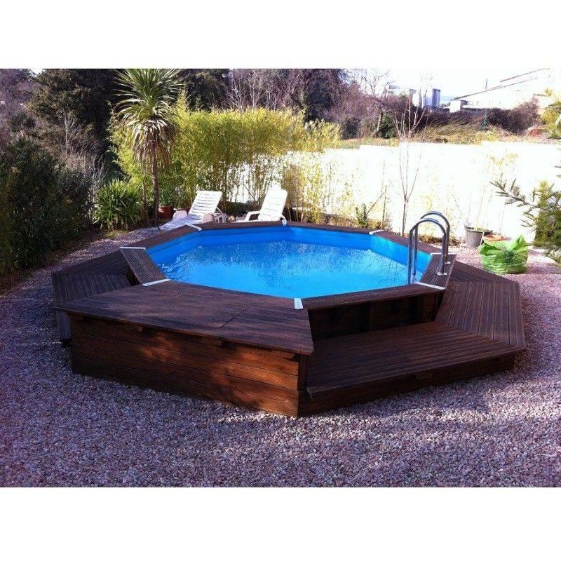 Piscine bois oc a 430 h120 cm ubbink liner beige for Liner pour piscine en bois