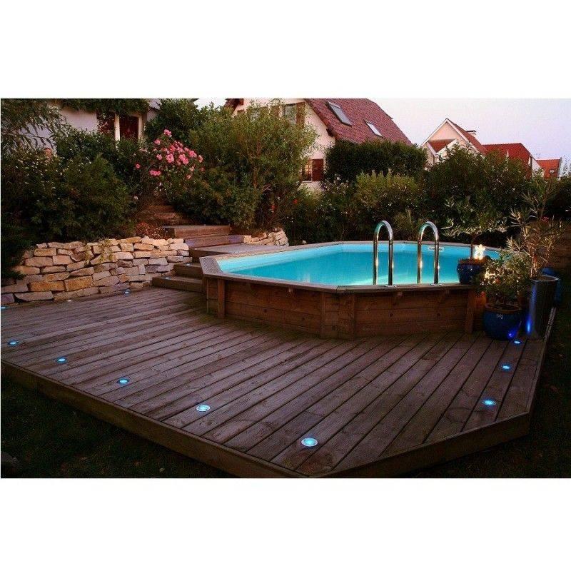 Piscine bois oc a 400 x 610 h130 cm ubbink liner bleu for Ubbink piscine bois