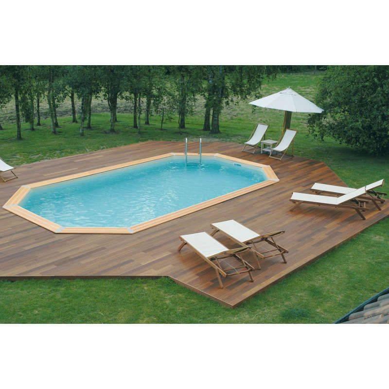 piscine bois oc a 400 x 610 h130 cm ubbink liner bleu adriatique. Black Bedroom Furniture Sets. Home Design Ideas