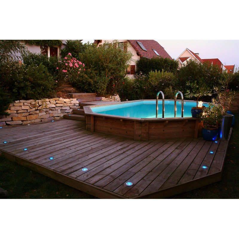 Piscine bois oc a 400 x 610 h130 cm ubbink liner beige for Commander liner piscine
