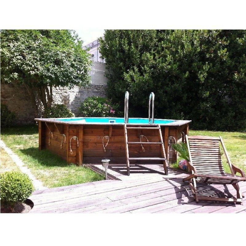 Piscine bois azura 410 h120 cm ubbink liner bleu for Budget piscine bois