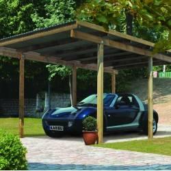Carport simple ECO 1 en pin autoclave avec toit PVC - Karibu