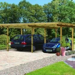 Carport Double Eco 1 en épicéa autoclave avec toit PVC - Karibu