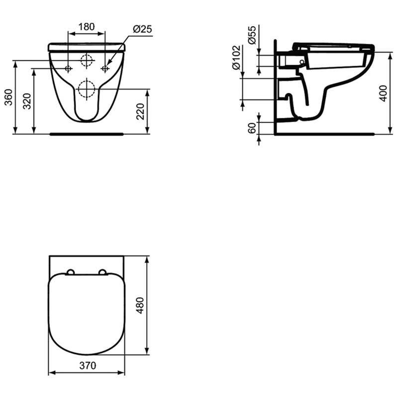 cuvette suspendue kheops 48x37 sans abattant version courte. Black Bedroom Furniture Sets. Home Design Ideas