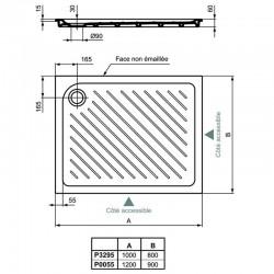 Receveur rectangulaire Ulysse 100x80x6cm à encastrer - Porcher