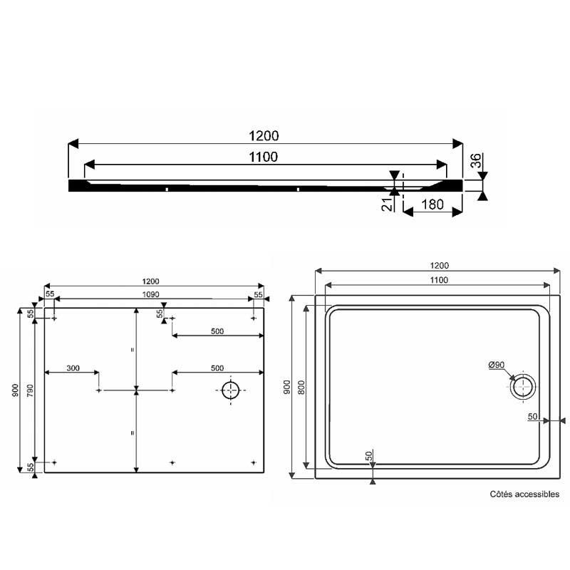Blanc 80x120 min/éral style d/écontract/é Receveur de douche design grille lat/érale en acier inoxydable en marbre