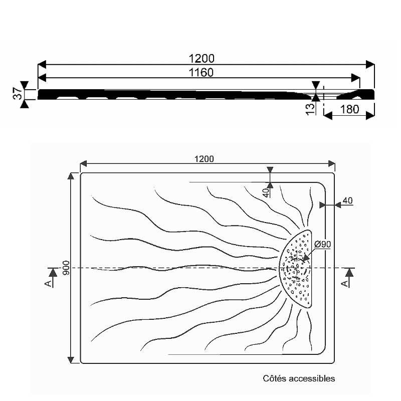 receveur de douche extra plat 120x90 mm embruns allia. Black Bedroom Furniture Sets. Home Design Ideas