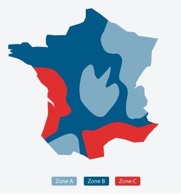 Carte de France - Zone Température Poolex