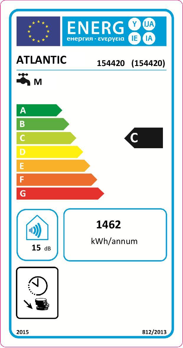 Etiquette énergétique Chauffe-eau Atlantic vizengo 154420