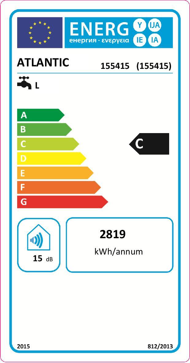Etiquette énergétique Chauffe-eau Atlantic zénéo 155415