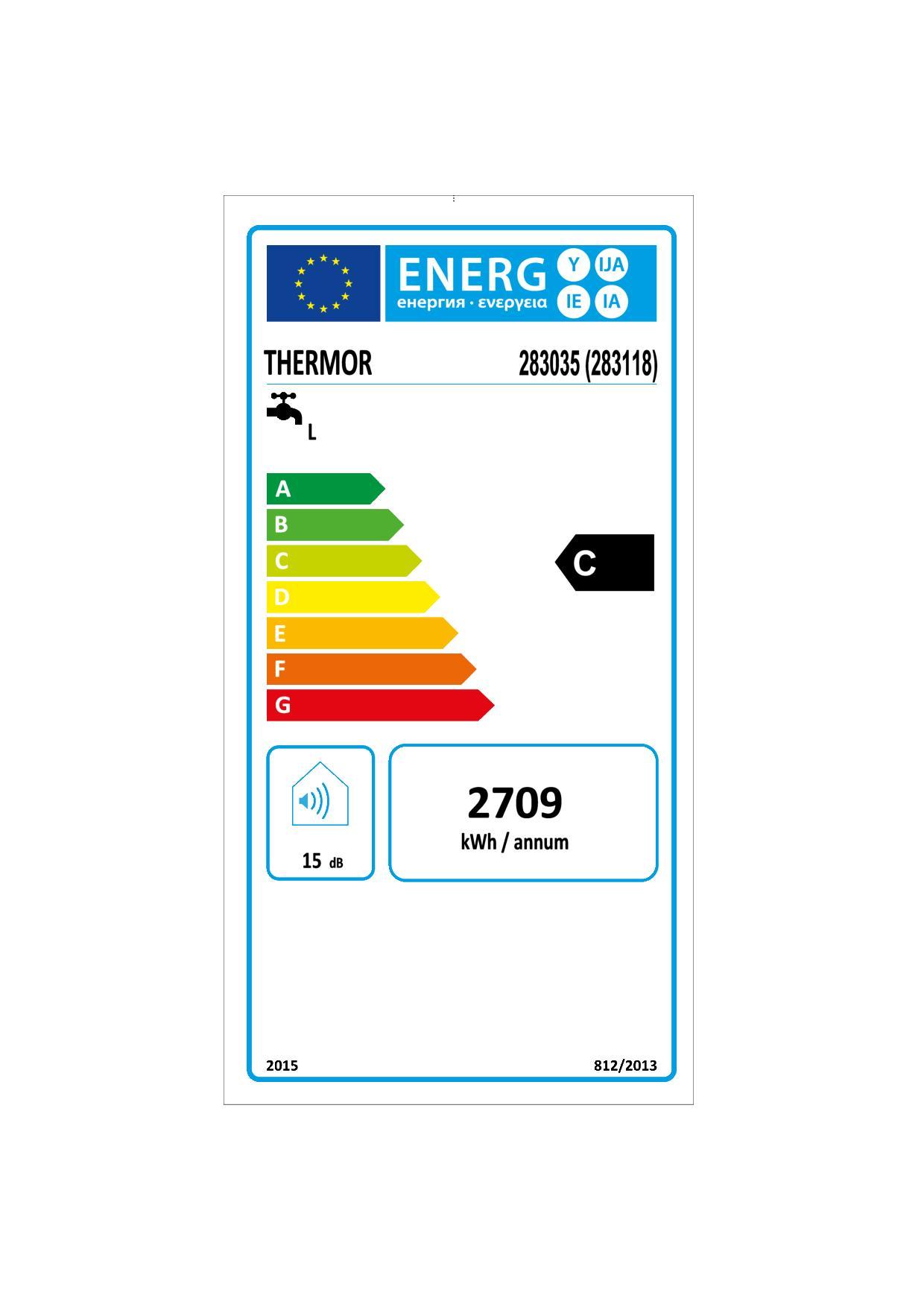 Etiquette énergétique Chauffe-eau Thermor Duralis 283118