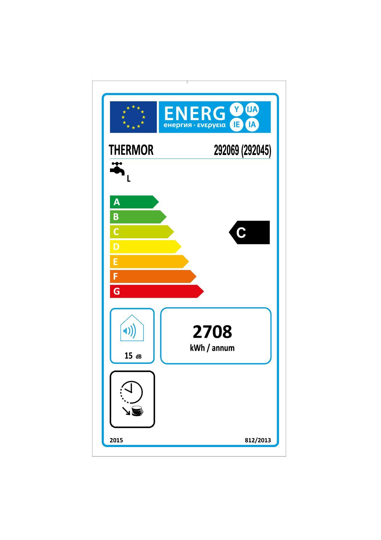 Etiquette énergétique Chauffe-eau Thermor Duralis 292045