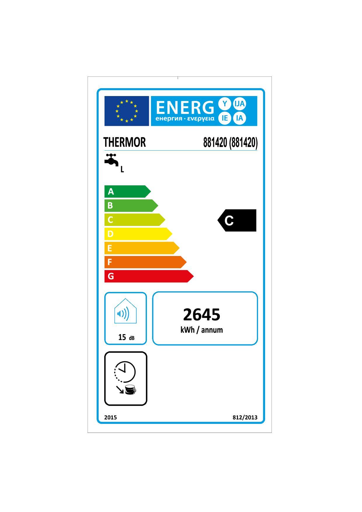 Etiquette énergétique Chauffe-eau Thermor Duralis 881420