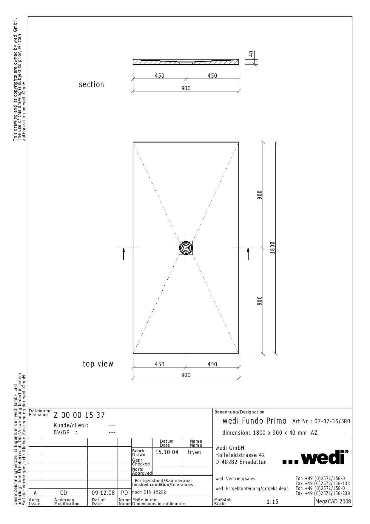 Receveur carreler rectangulaire fundo primo 180x90x4 cm for Epaisseur receveur a carreler