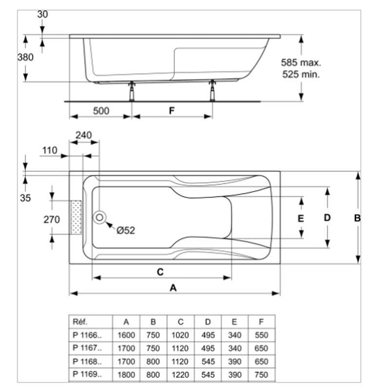 Baignoire Kheops 170 X 80 Cm En Acrylique Ideal Standard